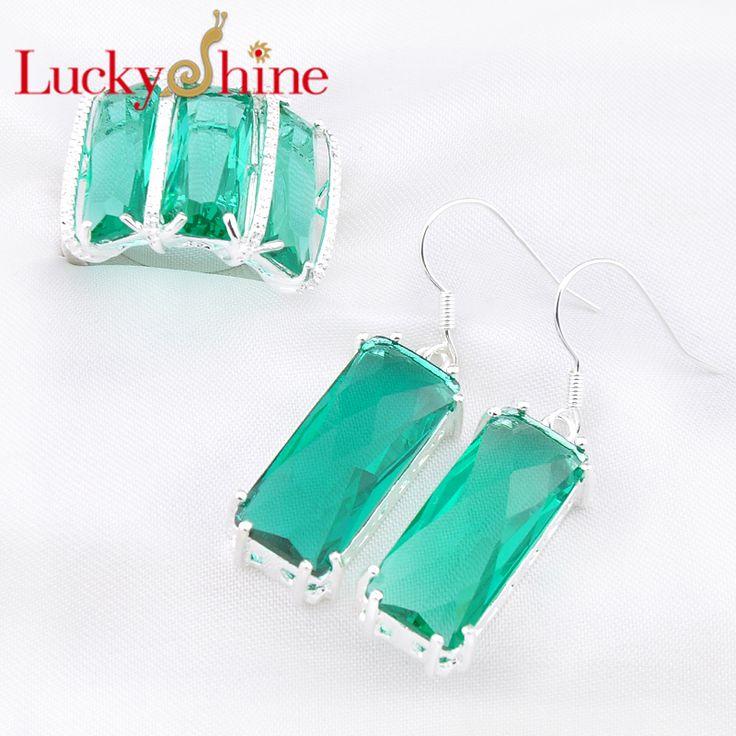 Luckyshine свадебные ну вечеринку подарок посеребренная пл зеленая аметист празиолит кристалл кольцо серьги ювелирные комплект