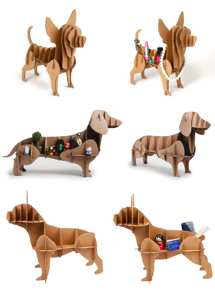 Life-size, 3D cardboard dog organizers from Madrid-based designer Emilio Alarcón.