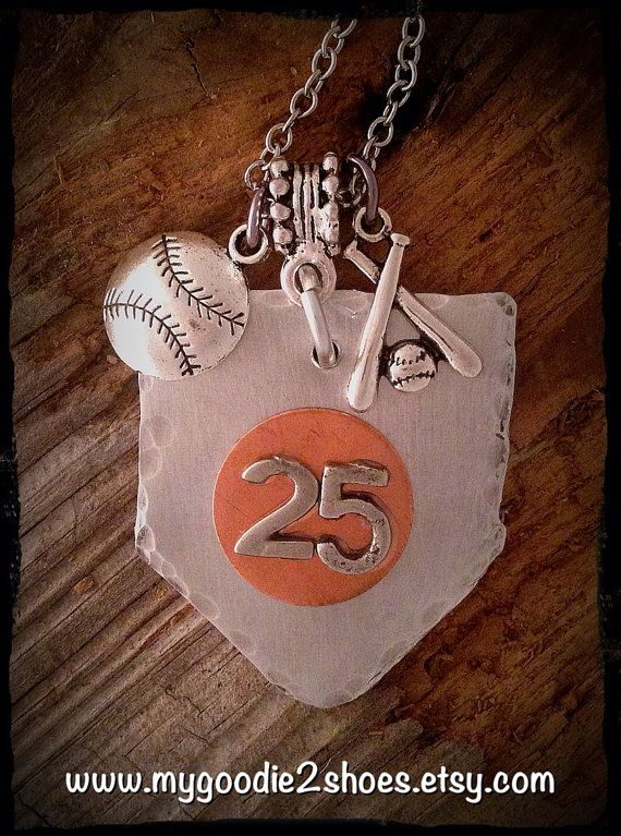 Home Plate Baseball Necklace Baseball Mom Team by mygoodie2shoes