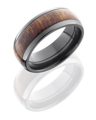 Unique Wood & Black Zirconium Ring