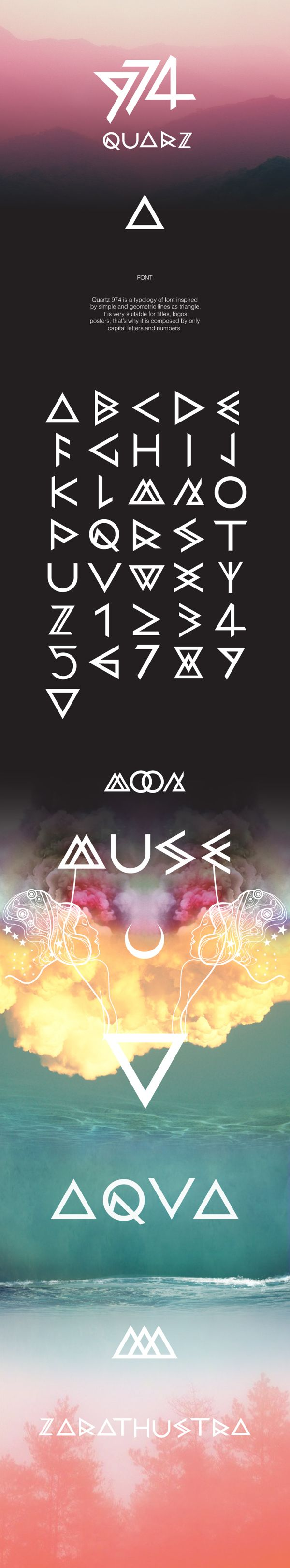 QUARZ 974 by Domenico Ruffo, via Behance , font , typography , triangle , poster , geometric , decorative                                                                                                                                                                                 Más