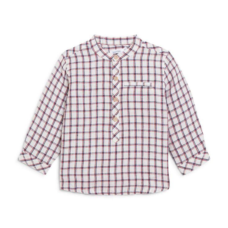 Chemise à carreaux col mao ROUGE Bout'Chou – Monoprix.fr