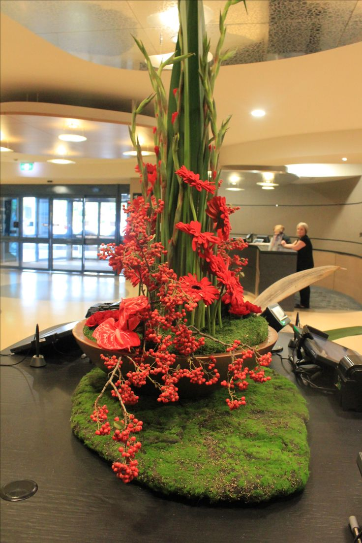 Vibrant Red Large Corporate Arrangement with Gladioli, Anthirium, Gerbera and Carnation. Created by Poppies and Peas Floral Design.