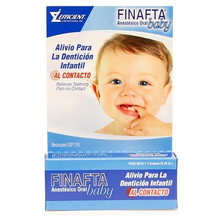 FINAFTA BABY TEETHING GEL - PARA DIENTES DE BEBE Finafta Baby 0.25 oz is an oral gel for the soothing relief of sore gums due to teething in infants and children of four months and older