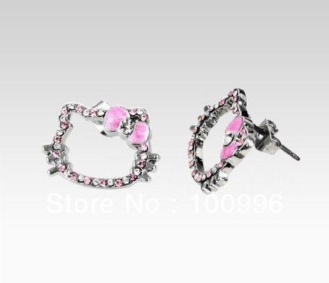 Горячая распродажа летние украшения привет котенок серьги для женщин привет китти серьги в розовом с бантом подарок ювелирных изделий Ht-10123