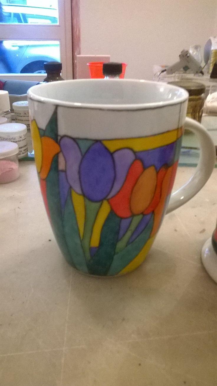 tazza mug in porcellana dipinta a mano disegno liberty
