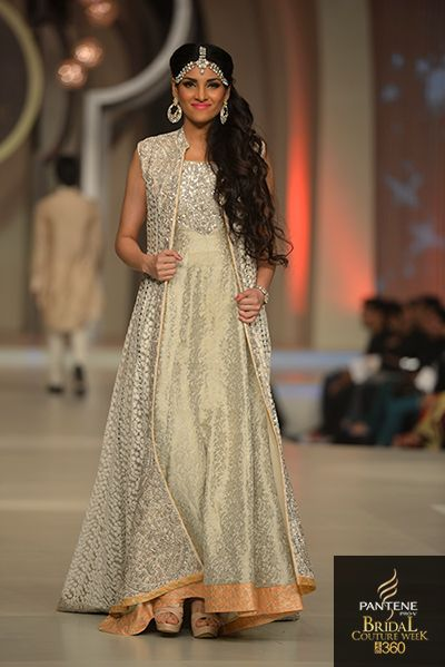 Registry Outfit. Sleeves added.  zanaib chottani cream peach silver long vest anarkali | More on IndianWeddingSite.com