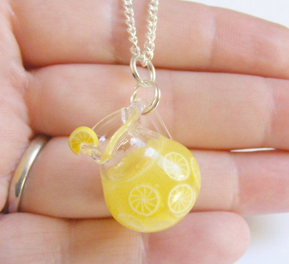 Lemonade Miniature Pendant Necklace - Miniature Food Jewelry,Handmade Jewelry,Mini Food Jewelry,Food Jewellery,Bottle Necklace,Kawaii