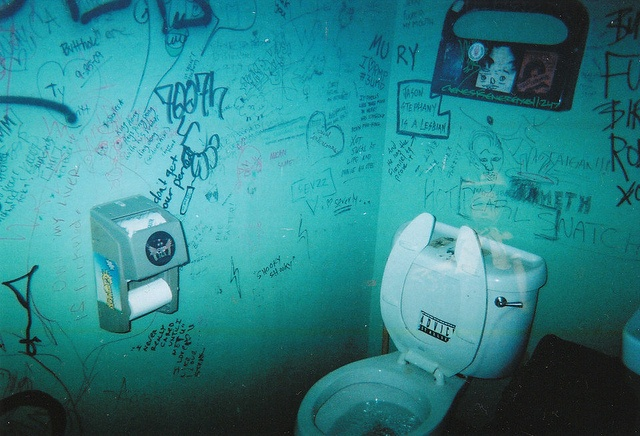 Vandalized and used bathroom