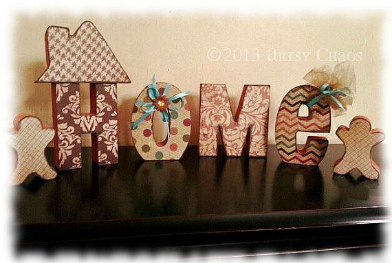 Unfinished Wood HOME Letters Family Home Decor
