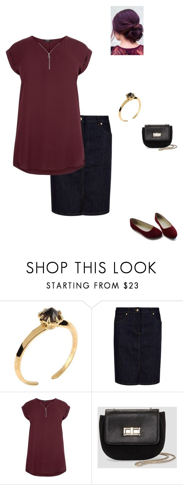 """burgundy and black"" by acousticflute ❤ liked on Polyvore featuring Katie Rowland, Hobbs, New Look and Who What Wear"
