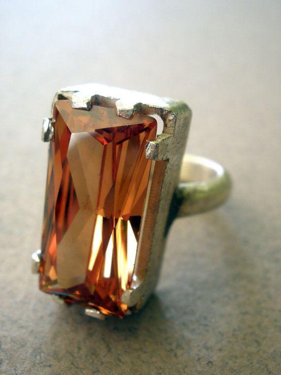 Champagne Zircon handmade sterling silver ring