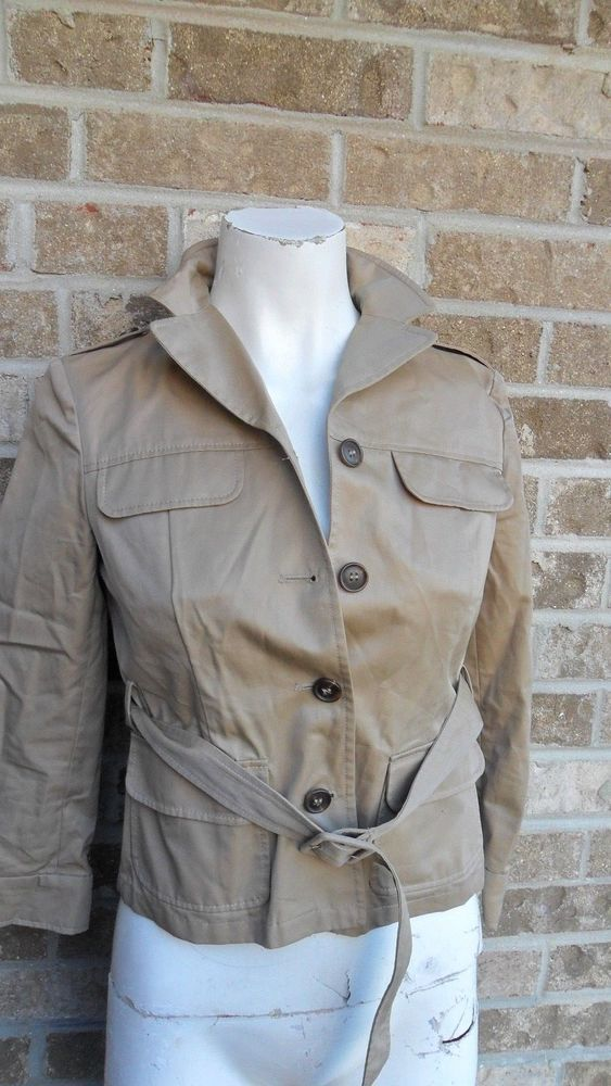 bca959d62f3 Miu Miu Italy Military Style Jacket Blazer Tan Buckle Belt Sz 38 US Sz 8