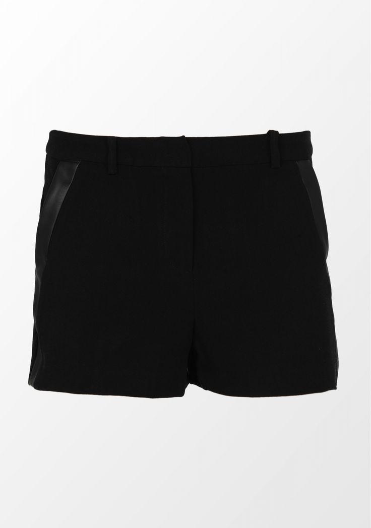 Vila, pantaloni scurți cu fermoar, negri