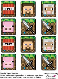 Minecraft Printables - Cupcake Toppers