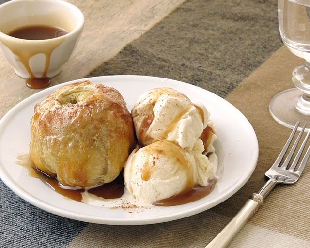 Apple Dumplings with Puff Pastry, Vanilla Ice Cream and Caramel Sauce