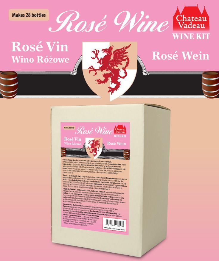 Chateau Vadeau Rosevin vinsats ger 21 liter - 28 flaskor a 75 cl - lättdrucket bordvin. Tillsätt vatten och 4 kg socker. Alla andra ingredienser medföljer.