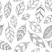Hermoso doodle sin fisuras patrón con vintage hojas de dibujo. diseño fondo tarjetas de felicitación e invitaciones a la boda, cumpleaños, día de la madre s y otras fiestas de otoño temporadas Ilustración De Stock