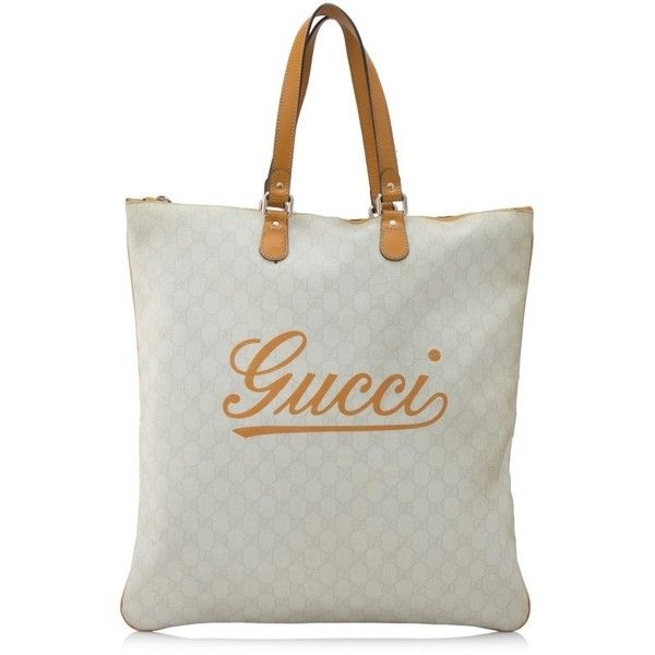 Pre-owned Gucci GG Supreme Tote ($410) ❤ liked on Polyvore featuring bags, handbags, tote bags, grey, gucci tote bag, leather tote bags, leather tote handbags, leather handbag tote and gucci tote