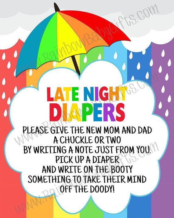 PRINTABLE Rainbow Baby Shower Late Night by RainbowBabyGifts