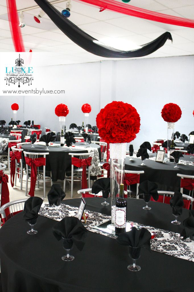 Damask, Black, Red and White Wedding Ceremony and Reception Decor in London Ontario | LUXE Weddings and Events
