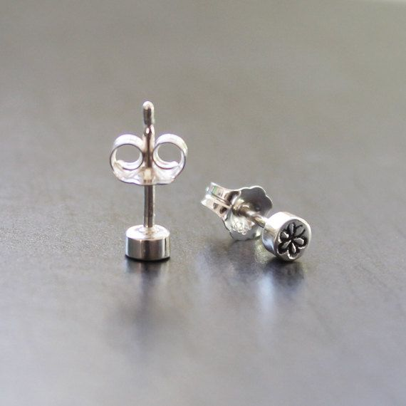Sterling Silver Daisy 'Dot' Studs - 3.5mm across and 2mm thick solid stud earrings with butterfly backs by AlexStoneJewellery on Etsy