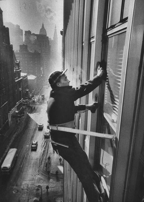 pinterest.com/fra411 #vintage - WALTER SANDERS  Window Cleaners Cleaning High Rise on Madison Avenue. 1957