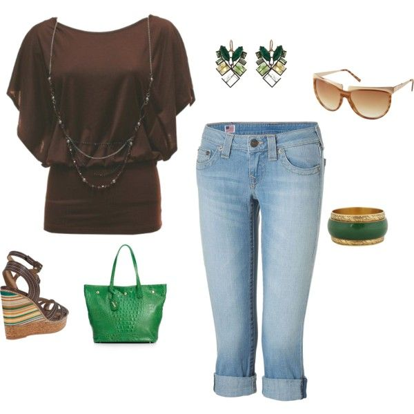Brown tunic with denim capris.  Wedge shoes with a touch of emerald green.  Added an emerald green purse and some matching jewelry to make the outfit pop.  , created by peridotpixie