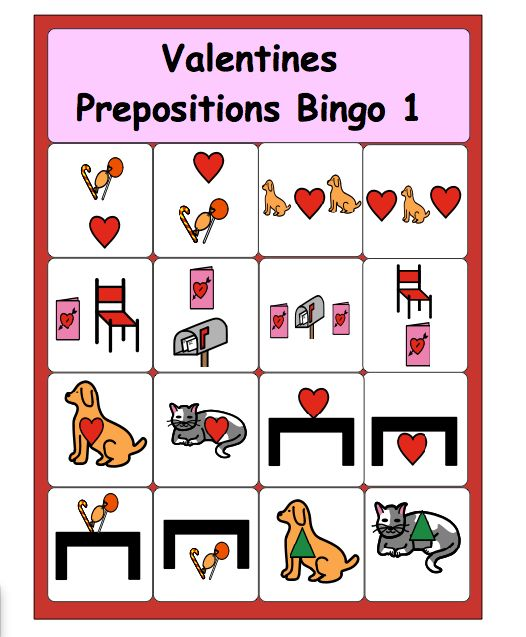 Valentines Prepositions Bingo--free printable