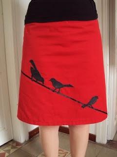 applique birds on plain a-line skirt