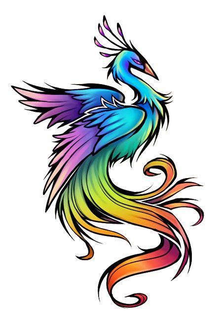 Rainbow Bird Tattoo Design