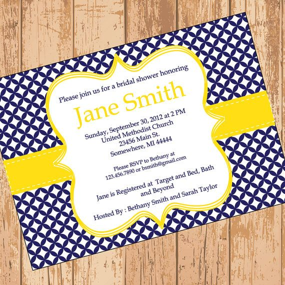 Modern Navy and Yellow Bridal Shower Invitation - Printable PDF on Etsy, $5.00