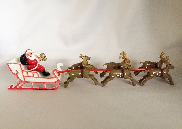 Santa with Sleigh and Six Reindeer, Vintage Christmas Decorations