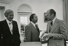 Richard DeVos and Jay Van Andel in the Oval Office meeting with Gerald R. Ford in June 1975.