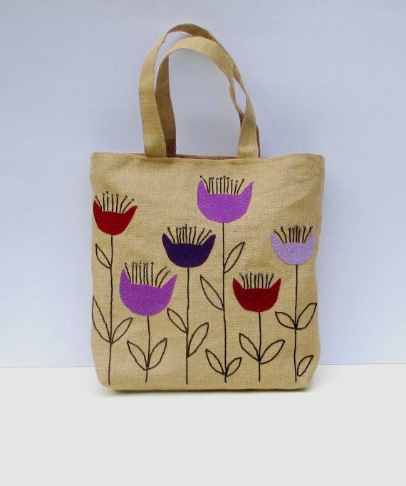The purple flowers Handmade jute Tote bag unique sporty by Apopsis
