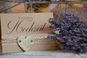 Einladungskarten - Einladung Hochzeit Vintage Herz Kraftpapier