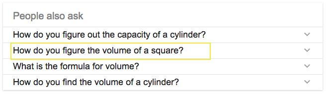 """I googled """"equation for volume of a cylinder, and this came up."""