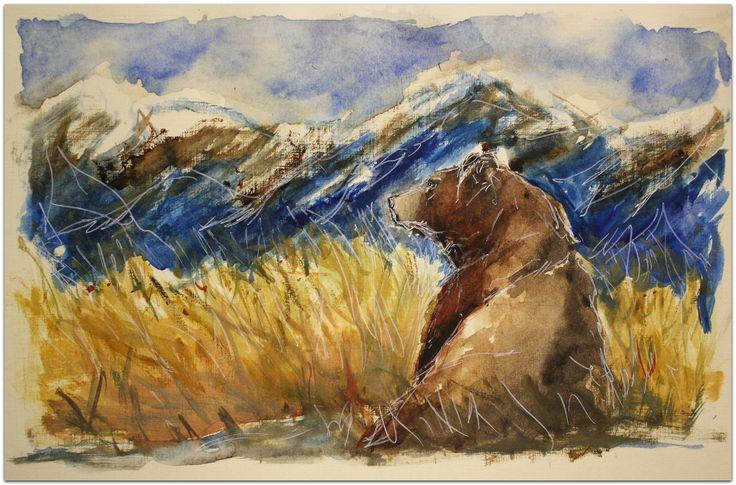 landscape, bear, watercolor, пейзаж, медведь, акварель, картина, горы, зверь, животные, акварельные животные