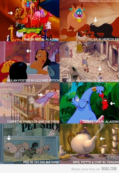 Some of these are obvious, but, it's fitting that Nani would have a poster of Mulan, it's cool that Belle walked through the same village that Quasimodo looked over, and I find it kind of sad that a little dog in the petshop in 101 Dalamations grew up to be Peg in Lady and the Tramp.