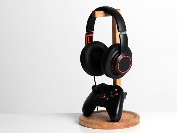 Wood headphone stand tech gift handmade holder
