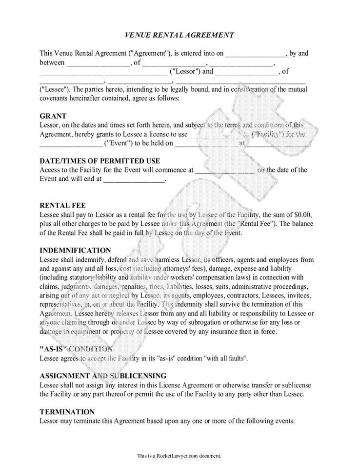 Sample Venue Rental Agreement Form Template Venue rental