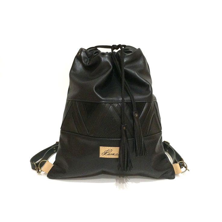 Black leather Karmacsi backpack