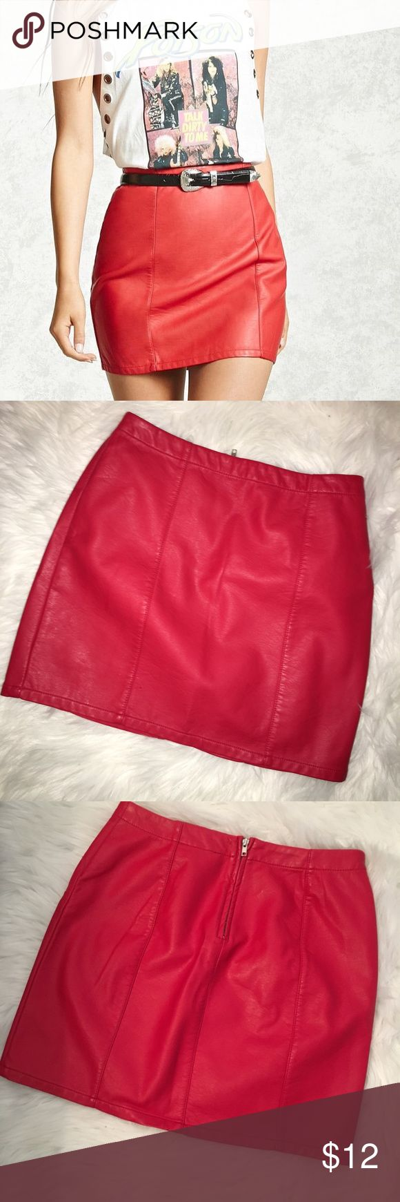 Faux Red Leather Skirt Worn once! It's a small from Forever 21. Forever 21 Skirts Mini