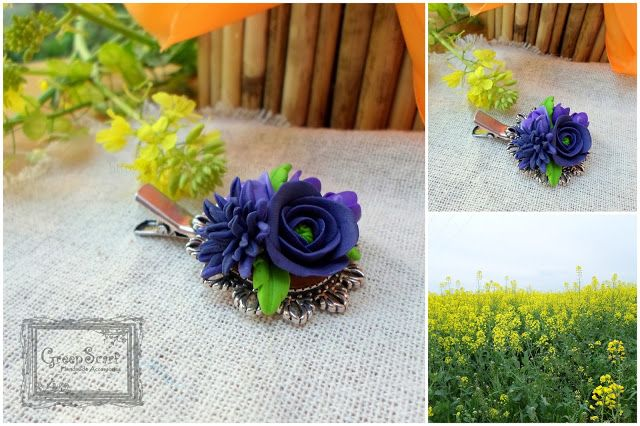 polymer clay handmade hair pin