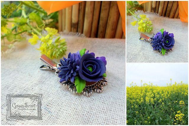 polymer clay handmade hair pin