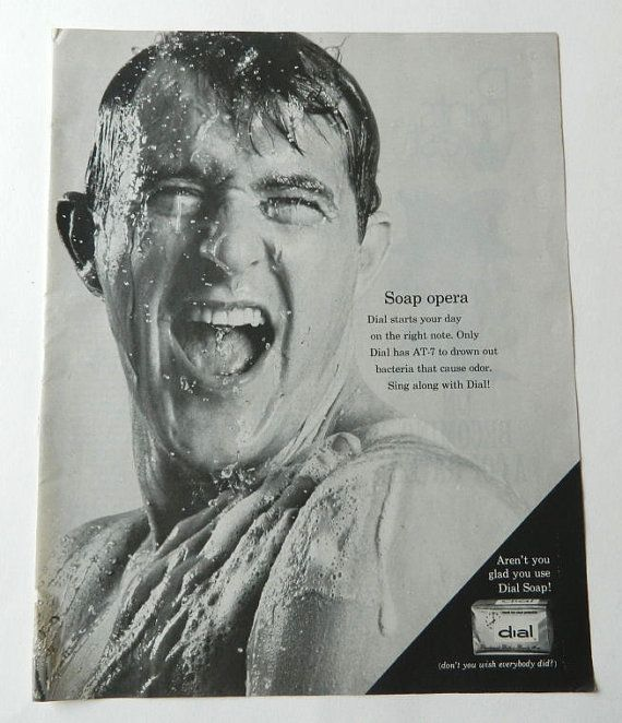 Vtg Dial Soap Ad  man singing in shower black by DustyDiggerLise