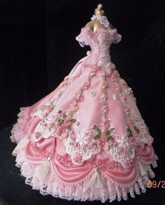 Stunning Pink Gown with Large Flowered White Lace Made to Fit the Barbie Doll