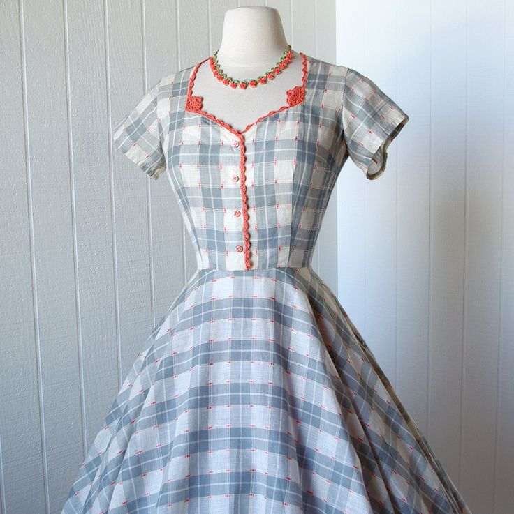 vintage 1950's dress with CORAL CROCHETED trim/Love the detail..so pretty..