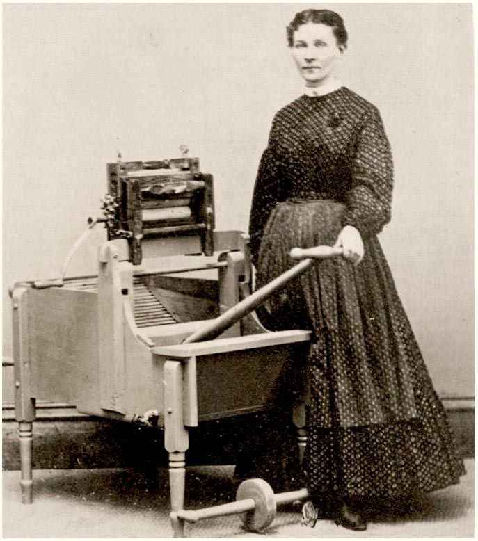 Woman with a Washing Machine in Watkins, N.Y. - 1860s