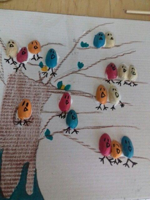 Facile da costruire bastano:un pennarello nero, gusci di pistacchio,la colla,i pennarelli e la       cera marrone.